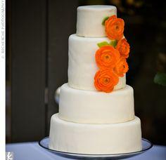 Orange splash wedding cake