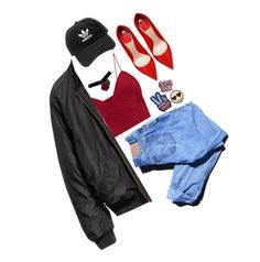 """super babe 😎✌"" by peacecookie34 ❤ liked on Polyvore featuring Levi's, H&M and adidas"