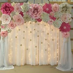 Today set up for a baby shower. I love the look of the little stars! #paperflowers #handmade #paper #paperflorist #paperflowersbackdrop #babyshower #itsagirl #floresdepapel #partydecoration #madewithmichaels #northcarolina