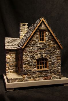 miniature stone cottage - Decoration Fireplace Garden art ideas Home accessories Stone Cottages, Stone Houses, Fairy Garden Houses, Fairy Gardens, Garden Art, Putz Houses, Paper Houses, Miniature Houses, Miniature Gardens