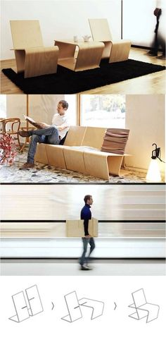 Niko Klansek (New York) has created LLSTOL, a multi-purpose piece of furniture consisting of 2 pieces of L-shaped plywood, that can be 'locked' at the grooves & transformed into a lounge chair, bookshelf, drawing board, rest support, coffee table or bench. Easily stacked for  storage & transportation.