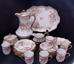 Antique 1890 1900 Limoges AK CD Floral Roses Chocolate Set 17 Pieces - so sweet