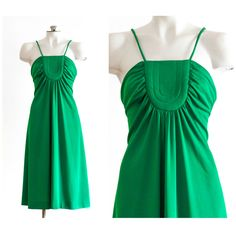 1960s emerald green spaghetti strap dress by TimeTravelFashions on Etsy