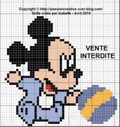 Grille gratuite point de croix : Mickey bébé et son ballon