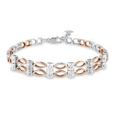 14k/18k White & Rose Gold Diamond Bracelet (0.26 Cttw)