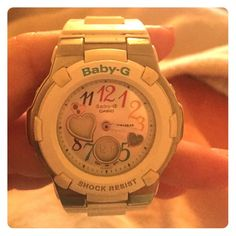 WHITE BABY G White band but has color on the face with the numbers. Watch has been worn but in great shape! Great for exercising G-Shock Accessories Watches