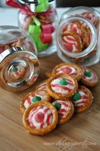 Peppermint Pretzels .  Just place a xmas hersheys kiss in the center of circle pretzels and bake for 4 mins.  Can't get easier than that!.