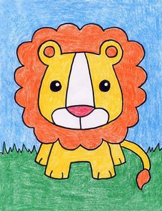 Baby lion · art projects for kids lion cartoon drawing, cartoon lion, drawing animals Lion Cartoon Drawing, Cartoon Lion, Baby Drawing, Cartoon Drawings, Cute Drawings, Animal Drawings, Drawing Tips, Drawing Drawing, Lion Drawing Simple