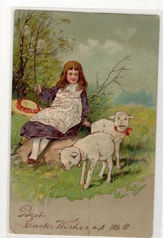 Easter post card lambs girl   Vintage  by sharonfostervintage, $2.00