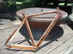 Finished Walnut Burl/Ash wood bicycle frame.
