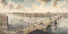 London from 1792, London from the roof of Albion Mills. Blackfriars Bridge