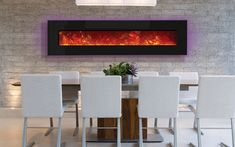 Electric Fireplace - 76 Inches Wide - Modern, Wall Mount or Built In