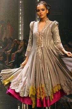 Mughal Style Anarkali Kurta/Kurti, with crochet hem & fuschia layer underneath by Manish Malhotra http://www.manishmalhotra.in/ at Lakme Fashion Week, Mumbai, Aug, 11 http://www.lakmefashionweek.co.in/?main_page=designers