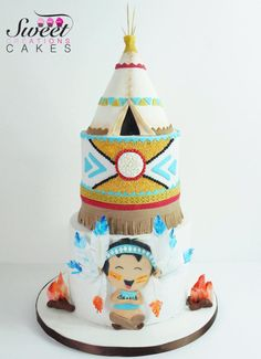 Little Indian tepee cake by Sweet Creations Cakes