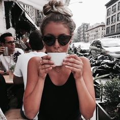 girl, fashion, and coffee