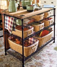 Longaberger  Kitchen Island with WoodCrafts Top-62800  Woven Iron. This collection features the same hand forged details, a natural iron finish and includes elements of our basket weave. Three wrought iron shelves hold Longaberger Baskets and Pottery, as well as small appliances. Inspired by designs of islands found in commercial kitchens. The WoodCrafts Maple top is treated with mineral oil is and is striped with a combination of light and dark wood to give it a butcherblock look.