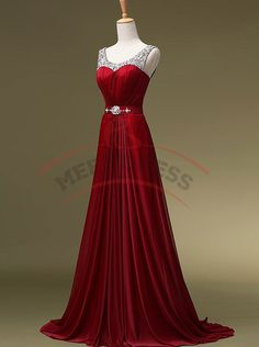 Hot-Selling A-line Homecoming Gowns,Fashion Burgundy Red Prom Dresses,Beading Formal Bridesmaids Dresses,Long Chiffon Prom Party Dresses