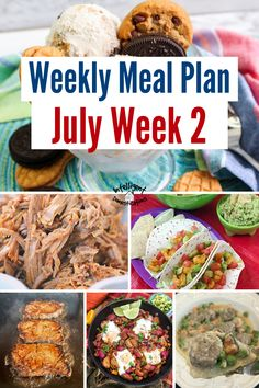 July Meal Plan Week 2. Summer dinner ideas with recipes. Stovetop or Crockpot dinner ideas for summer meals. Plus a No Bake dessert recipe. #mealplan #menuplan Easy Weeknight Meals, Easy Meals, Crock Pot Baked Potatoes, Baked Potato Toppings, Ranch Chicken Recipes, Tortellini Recipes, Making Homemade Pizza, One Dish Dinners, Homemade Guacamole