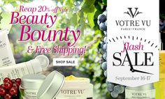 Votre Vu FLASH SALE! 9/16 and 9/17 only - select items 20% off plus free shipping for $75 orders Call me directly for an additional discount!