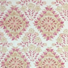 Pattern Name: Yamuna Colour: Island Paradise Width: 130 cm Repeat: 19 cm Ground Fabric: Chelsea Linen Made In England Fabric Houses, Pattern Names, Summer Colors, Blue Brown, All The Colors, Pink Purple, Printing On Fabric, Chelsea, Colours