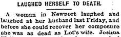 """A newspaper article a woman's strange death, published in the Daily Inter Ocean (Chicago, Illinois), 26 December 1878. Read more on the GenealogyBank blog: """"Peculiar, Unusual, and Stranger-than-Fiction Obituaries."""" http://blog.genealogybank.com/peculiar-unusual-and-stranger-than-fiction-obituaries.html"""