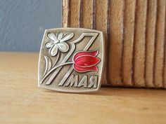 Soviet Pin / Flowers / Political Pin / 1st may / by EUvintage