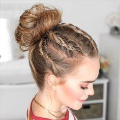 Haar Tutorial Video Haar , Braided Hairstyles for Long Hair , hair Source by iambij Braided Bun Hairstyles, Braided Hairstyles, Wedding Hairstyles, Braided Buns, Bob Hairstyles, Relaxed Hairstyles, Athletic Hairstyles, Saree Hairstyles, Braided Bread