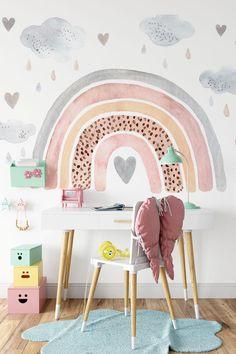 Home Decoration Color .Home Decoration Color Deco Kids, Rainbow Wallpaper, Nursery Wallpaper, Little Girl Rooms, Girl Kids Room, Kids Bedroom Girls, Girls Room Paint, My New Room, Room Inspiration