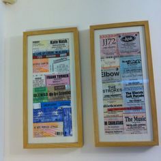 Idea for displaying concert tickets (copied from a friend!)
