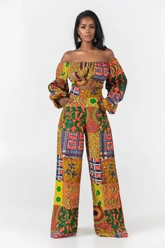 Unlined Inseam length Trouser in Overall length Interfacing Waist band Elastic at. African Print Jumpsuit, African Print Clothing, African Print Dresses, African Dresses For Women, African Print Fashion, Africa Fashion, African Wear, African Attire, African Fashion Dresses