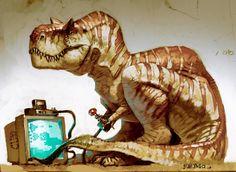 dinodork by king of fatboss Dinosaur Funny, Dinosaur Art, Dragons, Dinosaur Wallpaper, Jurassic Park World, Prehistoric Creatures, Wow Art, Tyrannosaurus Rex, Creature Design