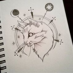 #doodle #dessin #chat #cat #catsofinstagram #evilcat #fun #moon #stars #neotrad…