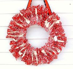 Dishfunctional Designs: Creative Crafts To Make With Bandannas. Lots of bandana ideas but I want this one for the Fourth of July made with red and blue bandanas Crafts To Make, Fun Crafts, Arts And Crafts, Diy Wreath, Door Wreaths, Wreath Ideas, Summer Wreath, 4th Of July Wreath, Bandana Crafts