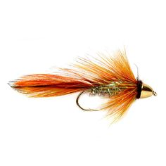 Great streamer for big brook trout at ice-out or big brown trout out west. Excellent still water fly pattern. Lots of mass and movement with a color combination that seems to entice strikes from brown and brook trout alike. In orange/natural.  <br />In sizes: 4, 6, 8.