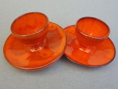 Vintage Egg Cup Holder set of 2 Art Pottery Red Orange Drip Swirl Bold c1970s Psychedelic
