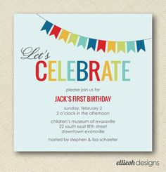 square colorful birthday party invite PRINTABLE by ellieohdesigns, $15.00
