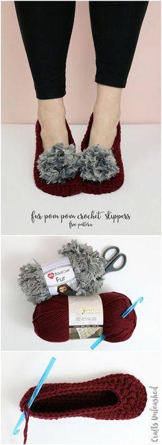 Fur Pom Pom Crochet Slippers Pattern