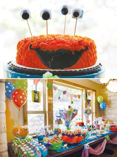 Monster Themed Party   We made this cake for Jackies 1st birthday.  Used the grass cake decorating tip for the hair....very cute.