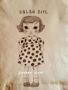 salad girl. I drew with a pen . by mayuko