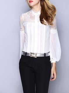 Cheap blouse brand, Buy Quality brand blouse directly from China vintage blouse Suppliers: New Hot Selling Blouses 2018 Spring Summer Brand Blusas Feminino Bluse Lace Silk Lantern Sleeve Women Vintage Blouse Shirts XL Black Silk Blouse, Bodysuit Blouse, Professional Wear, Lace Silk, Ruffle Shirt, Madame, Mode Outfits, Look Fashion, Cheap Fashion