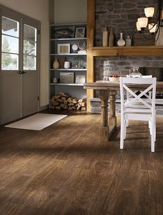 Rustic Kitchen with Mannington Sobella Vinyl Flooring - Chalet Campfire