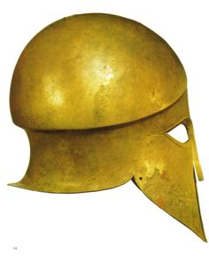 The classic Greek Corinthian style helmet is the single most aesthetically pleasing piece of military equipment ever created. Beaten and hammered from a single sheet of bronze by master craftsmen, these helmets today are appreciated as much for being works of art as functional articles of ancient military kit. This superbly preserved late 6th-century BCE helmet was found in Sicily. We even know the name of the warrior who wore this stunning helmet - Denda.