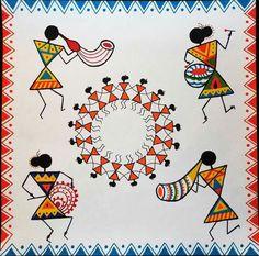 Madhubani Art, Madhubani Painting, Worli Painting, Fabric Painting, African Art Paintings, Pottery Painting Designs, Indian Folk Art, Art N Craft, Diy Canvas Art