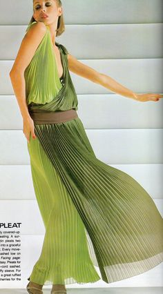Pierre Cardin haute couture- 1977 Green mousseline plunging wrap pleated dress. L'officiel USA Summer Issue 1977