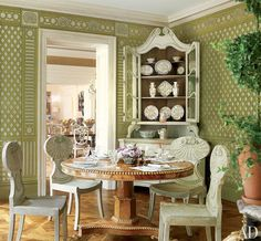 Hand-painted trellis wallpaper in the sunroom with antique furniture, in a Georgian-style house in Richmond, Virginia