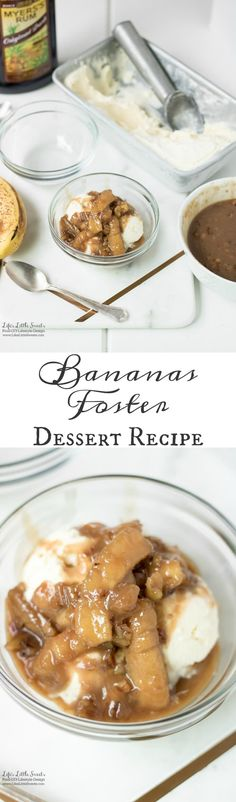 This Bananas Foster Dessert Recipe is a version of a classic dessert invented in 1951 by a New Orleans chef, Paul Blangé. It combines differing temperatures of cold vanilla ice cream and a warm, banana, rum-infused caramel sauce. Enjoy with or without nuts (walnuts or pecans). (Serves 6) www.lifeslittlesweets.com