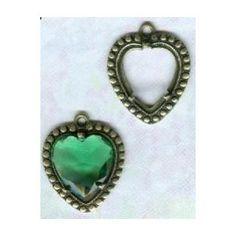 Heart Pendant Settings 11x12mm Oxidized Brass - VintageJewelrySupplies.com Gemstone Rings, Brass, Brooch, Turquoise, Gemstones, Pendant, Heart, Jewelry