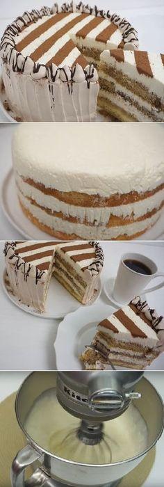 """Cómo Hacer Tiramisu Super fácil """"Esta es estupenda, Si te gusta dinos HOLA y dale a Me Gusta ##receta #tiramisu #recipe #chocolate #gelato #cocina #pastel INGREDIENTES: Molde de 9″ o 22 cm cubierto en plastico. Jarabe De Cafe: 2 tazas aprox, de cafe instantaneo o de cafetera al gusto Azucar al gus... Best Cake Recipes, Sweet Recipes, Dessert Recipes, Desserts, Easy Cake Decorating, Tiramisu Cake, Drip Cakes, How Sweet Eats, Cake Creations"""