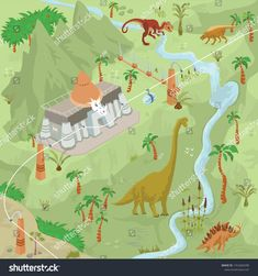 Dinosaurs adventure theme park fantasy map scene of lost world, animals and plants lot 1 Fantasy Map, Dinosaurs, Create Yourself, Royalty Free Stock Photos, Scene, Lost, Adventure, Park, Illustration