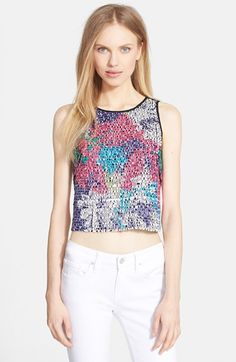 Milly Floral Paillette Silk Top available at #Nordstrom